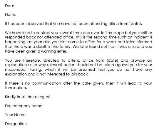 Release Template Employee Letter