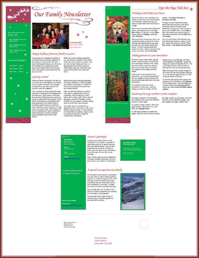 9 Christmas Newsletter Templates To Create Printable And E Newsletters
