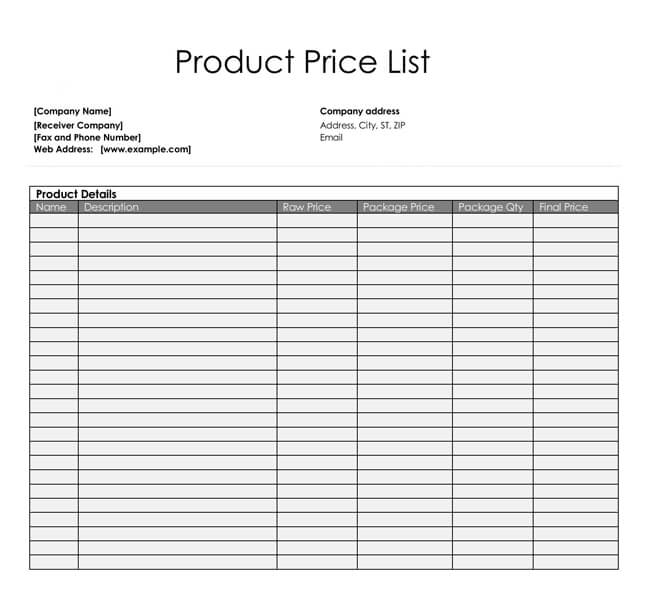 Food List Excel Template
