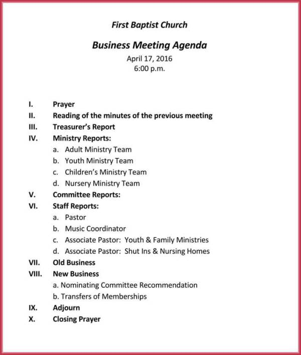 Business Meeting Agenda Templates - 9+ Best Samples in PDF ...