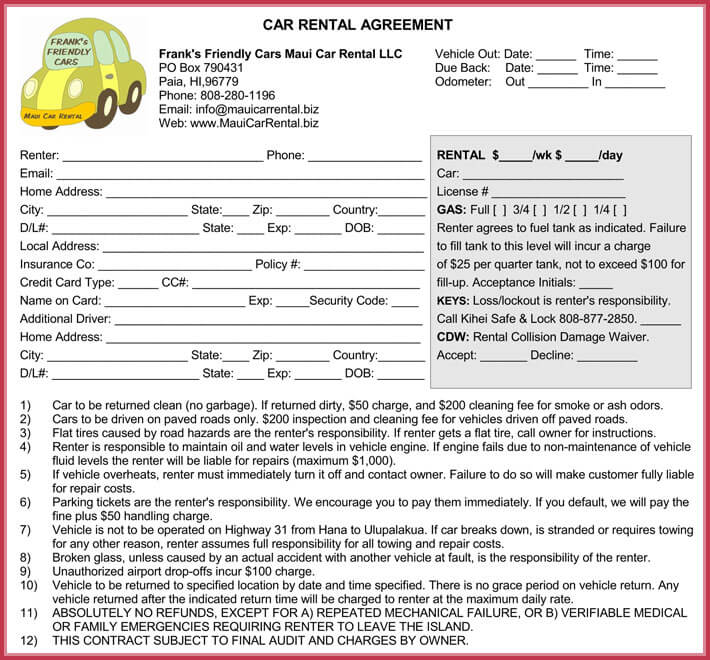 Car Rental Agreement 7 Samples Forms Download In