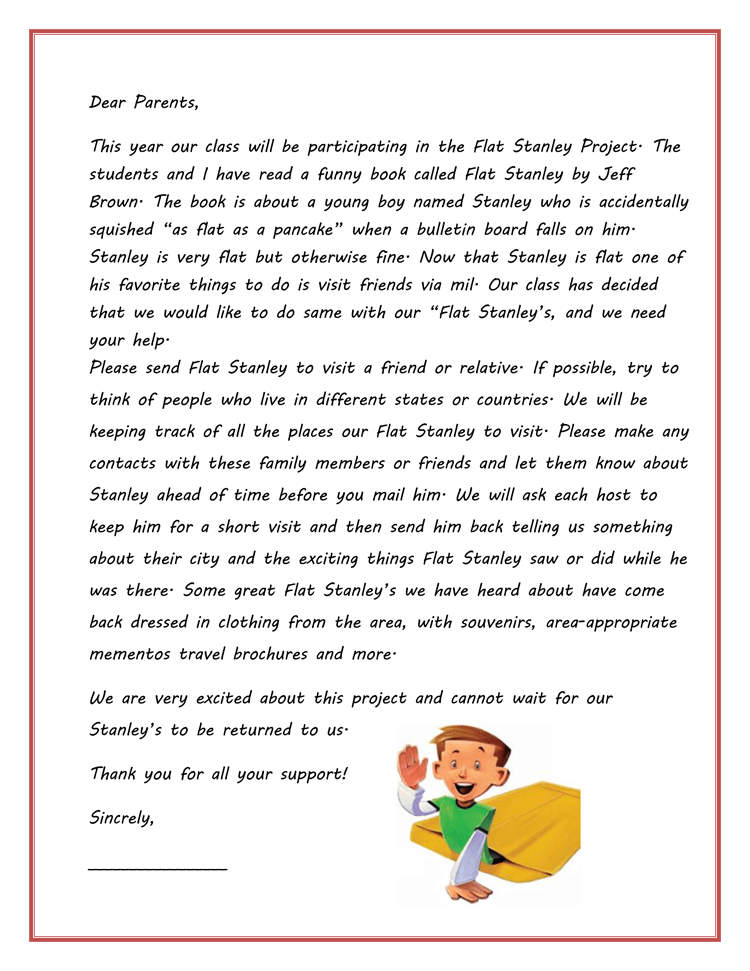 Printable Flat Stanley Templates Amp Letters Word PDF
