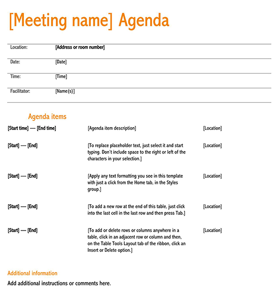 A page template, or web page template, often refers to a predesigned web page that you can customize. 15 Free Meeting Agenda Templates How To Write Word Pdf