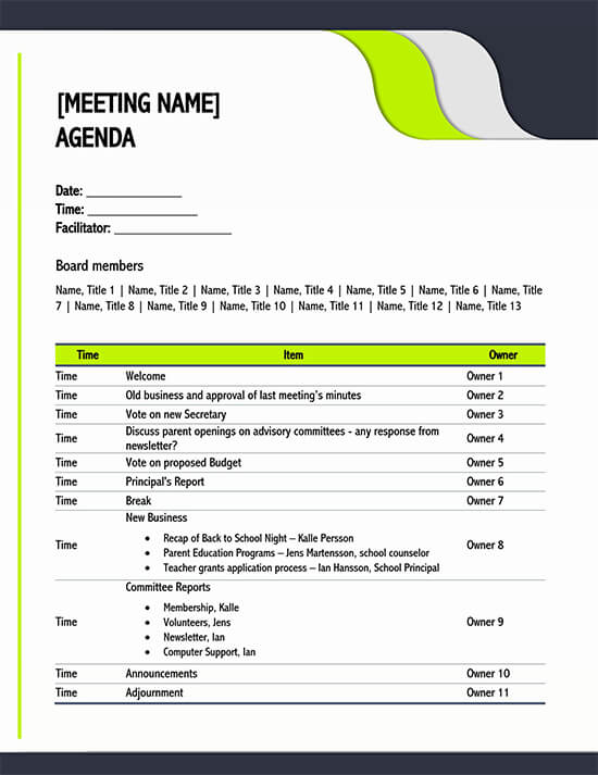 It guides the flow and structure of the meeting or program. 15 Free Meeting Agenda Templates How To Write Word Pdf