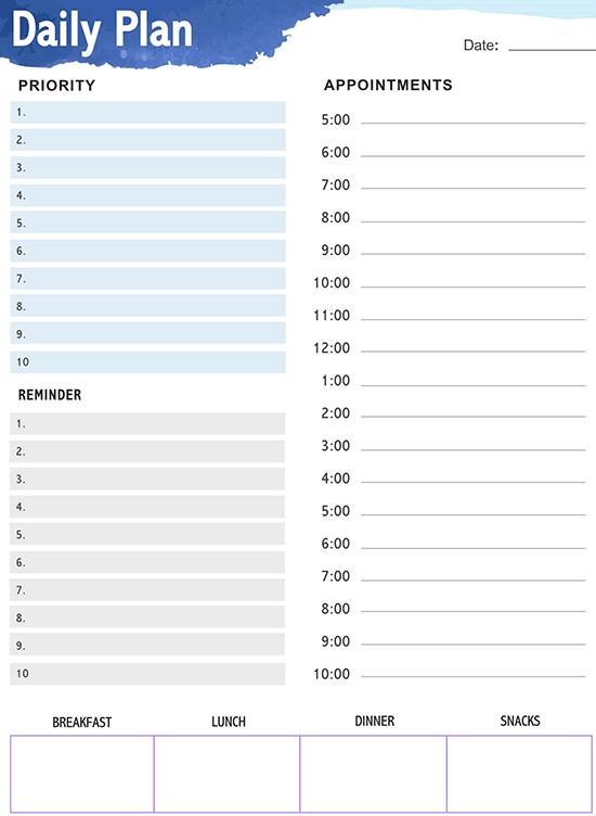 Anda dapat menggunakan template yang dibuat google seperti cv, anggaran, dan formulir. 18 Free Daily Planner Templates Customize Print Word Pdf