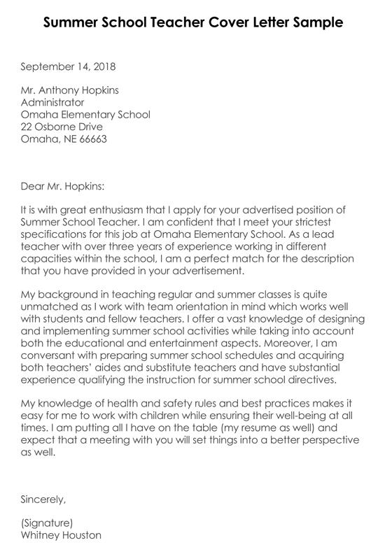 Teacher Cover Letter 12 Best Sample Letters Examples