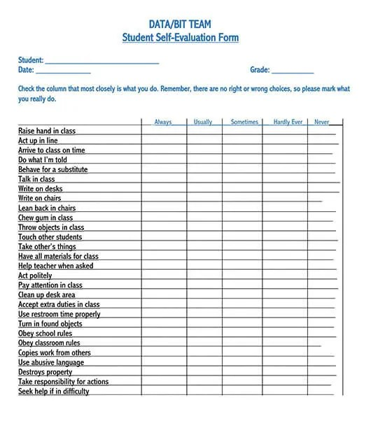 Download these 32 free employee evaluation forms in ms word, ms excel and pdf format to quickly assist you in preparing and printing your own employee evaluation form easily. 32 Free Self Evaluation Forms Samples Evaluate Your Self