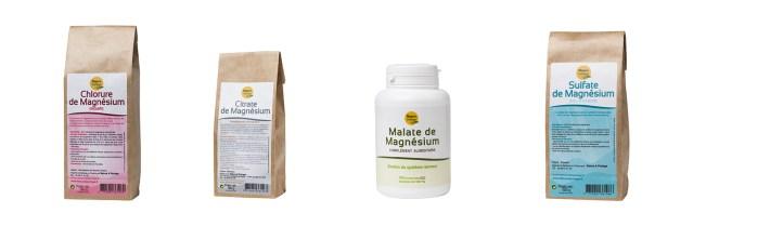 différents magnésiums, sulfate de magnésium, chlorure de magnésium