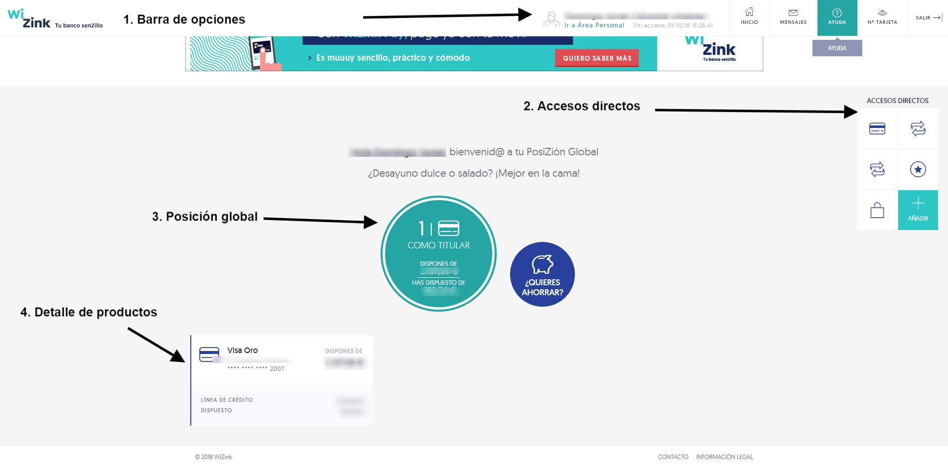 interfaz cuenta wizink