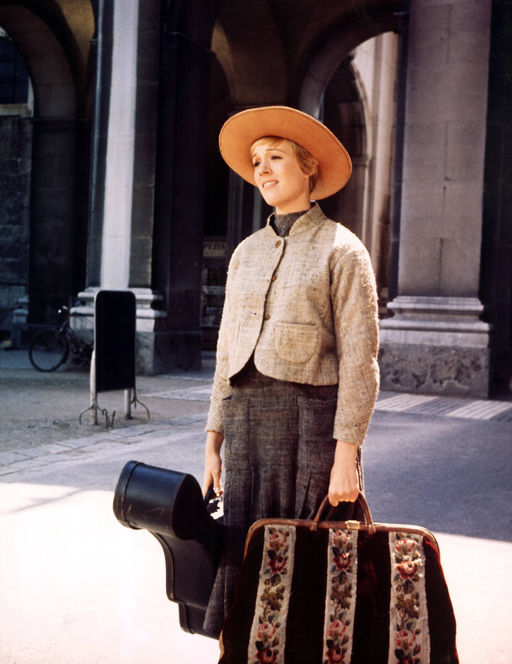 Image result for sound of music maria with guitar bag