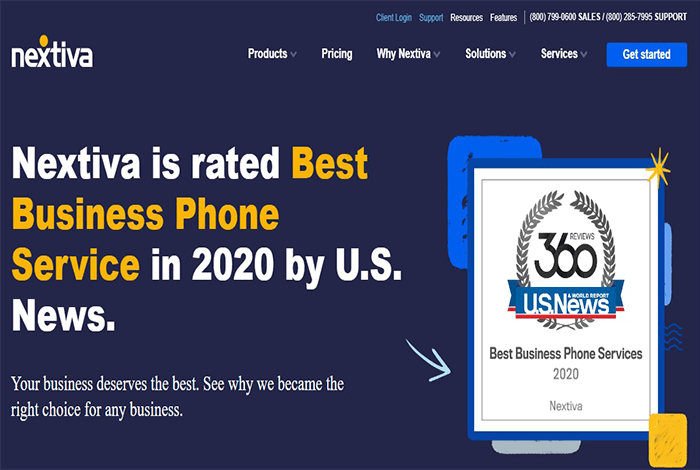 تم تصنيف Nextiva كأفضل خدمة هاتف أعمال في عام 2020 من قبل الأخبار الأمريكية.