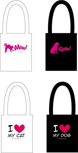 Diseños bolsos ¡Miau! y ¡Guau!