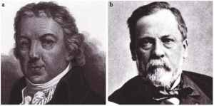 Louis Pasteur (left) and Edward Jenner (right), in a lighter moment