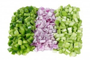 The holy trinity of Louisiana cuisine, onion, peppers, celery