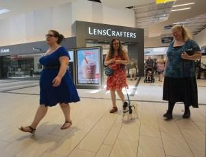Rachel, Veronica, Hestia, and Cyndy walking through the mall