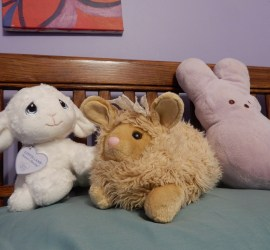 Bun-Lamb in the center (stuffed tan toy that looks like a cross between a bunny and a lamb). Bun-Bun on the right (purple peeps bunny with pink flower embroidery). Lamb-Lamb on the left (white lamb toy with googly eyes and a smushed face).