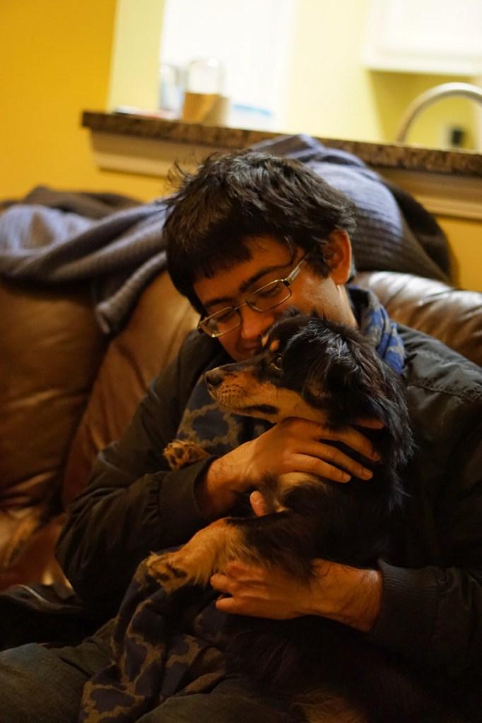 Rohit and Padma cuddle
