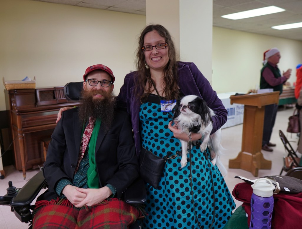 Brad, Veronica, and Hestia. This isn't the best picture of us, but it does show off my turquoise and black polka dog dress well!