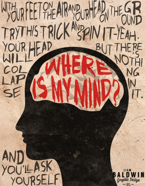 "Black shilouette of a person's head.  The brain is white and in red on the brain is written ""Where is my mind?""  Around the head are various lyrics in the song."