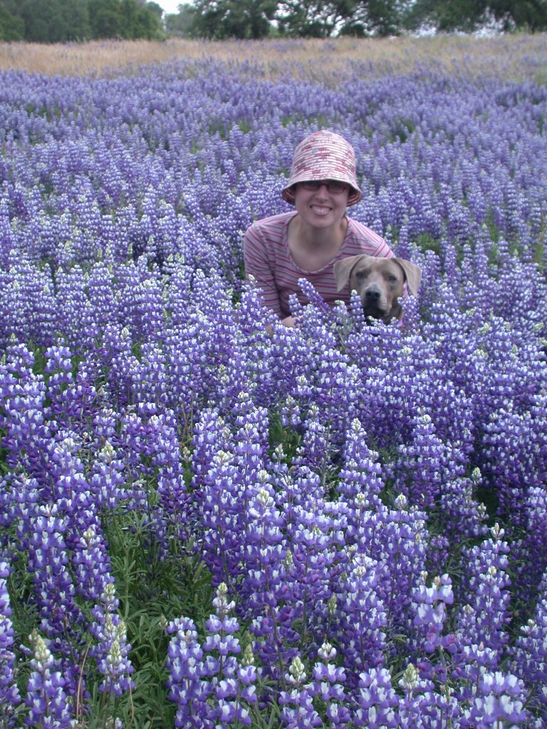 Veronica kneels next to Sabrina in a beautiful sea of lupines