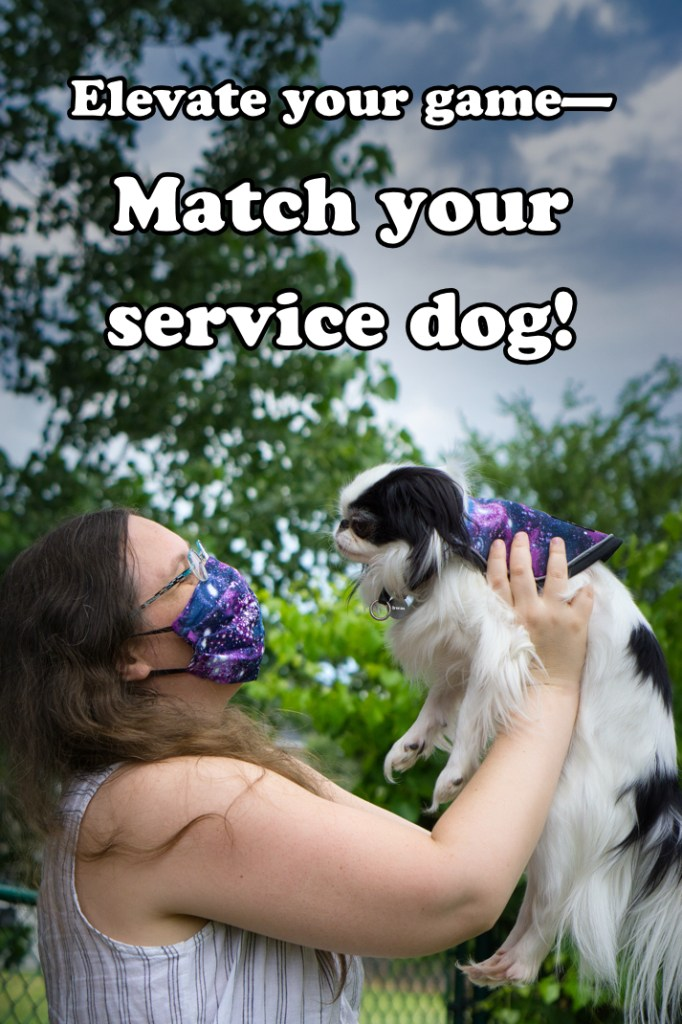 "A meme Brad made from the previous photo saying ""Elevate your game- Match your service dog!"""