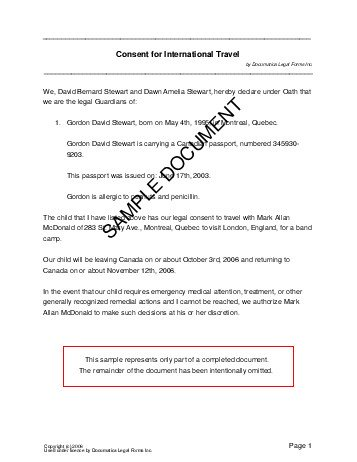 Authorization letter for minor to travel without parents sample authorization letter for minor to travel without parents sample free download altavistaventures Choice Image