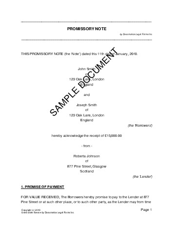 Promissory Note United Kingdom Legal Templates Agreements Contracts And Forms