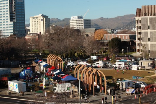 The Commons on Market day, former site of Crowne Plaza Hotel, Christchurch (Photo Credit: Fisheye Films)