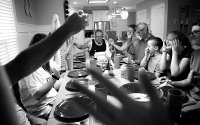 Documentary Family Photography: Family meal time, Hilton Head South Carolina.