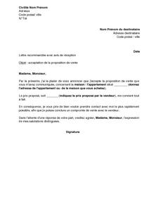 Exemple Gratuit De Lettre Agence Ou Notaire Acceptant