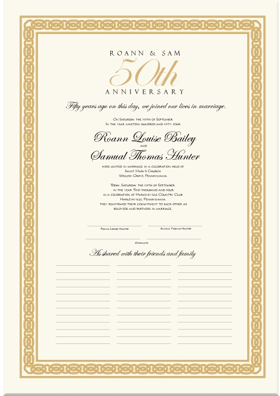 Wedding Anniversary Certificates 50th Anniversary