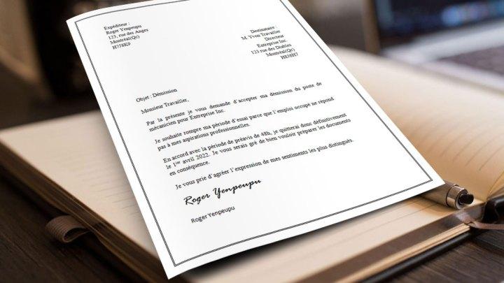 Lettre de démission pendant une période d'essai
