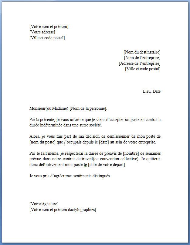 Lettre de démission pour un CDD en format JPG