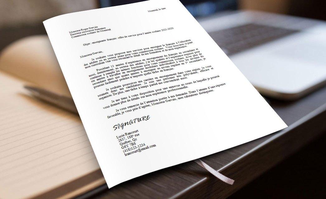 Exemple et modèle de lettre de présentation