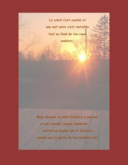 Message de condoléances… Le soleil s'est couché