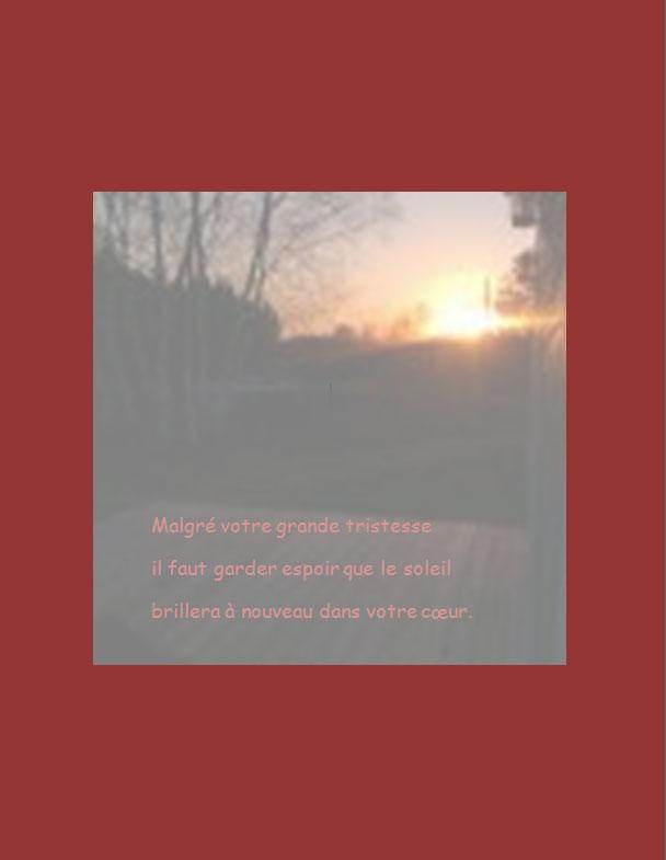 Message de condoléances | Malgré votre grande détresse