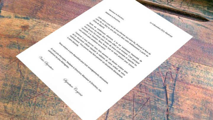 Lettre de démission pour arrêter l'école
