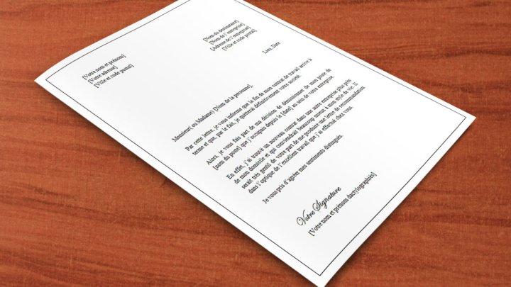 Lettre de démission pour fin de contrat