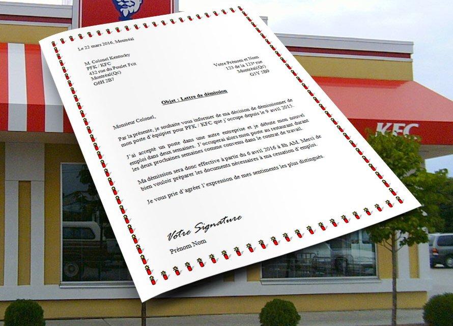 Lettre de démission pour KFC et PFK