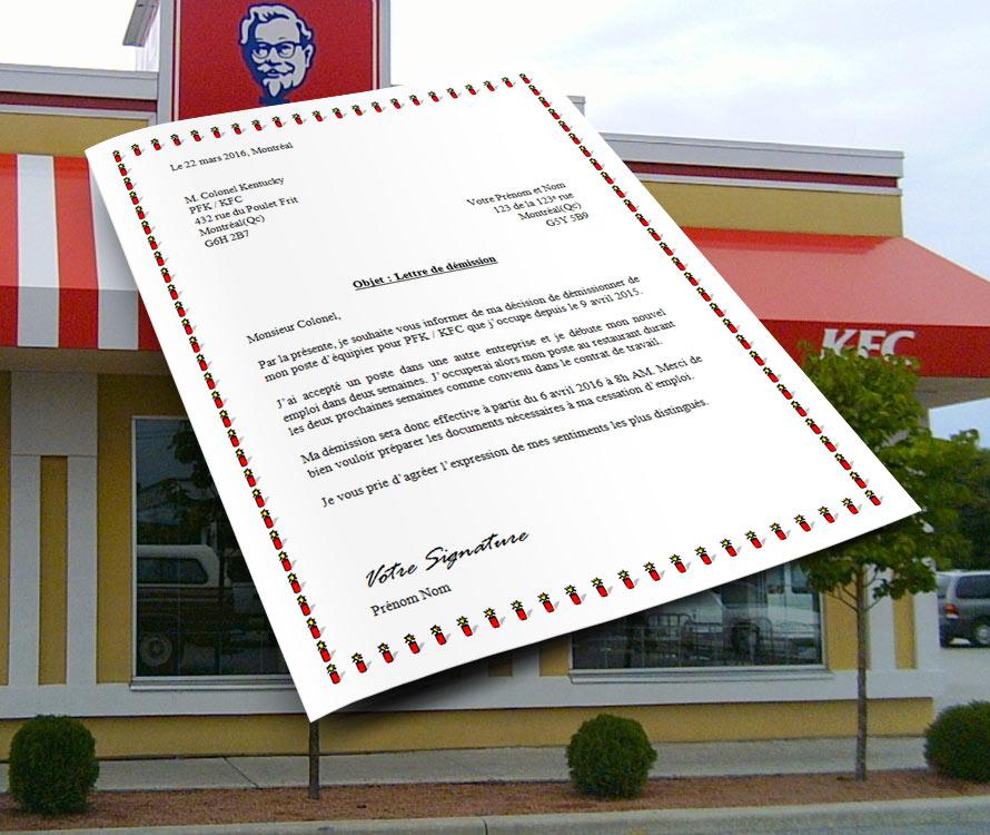 Lettre de démission pour KFC et PFK   Docutexte