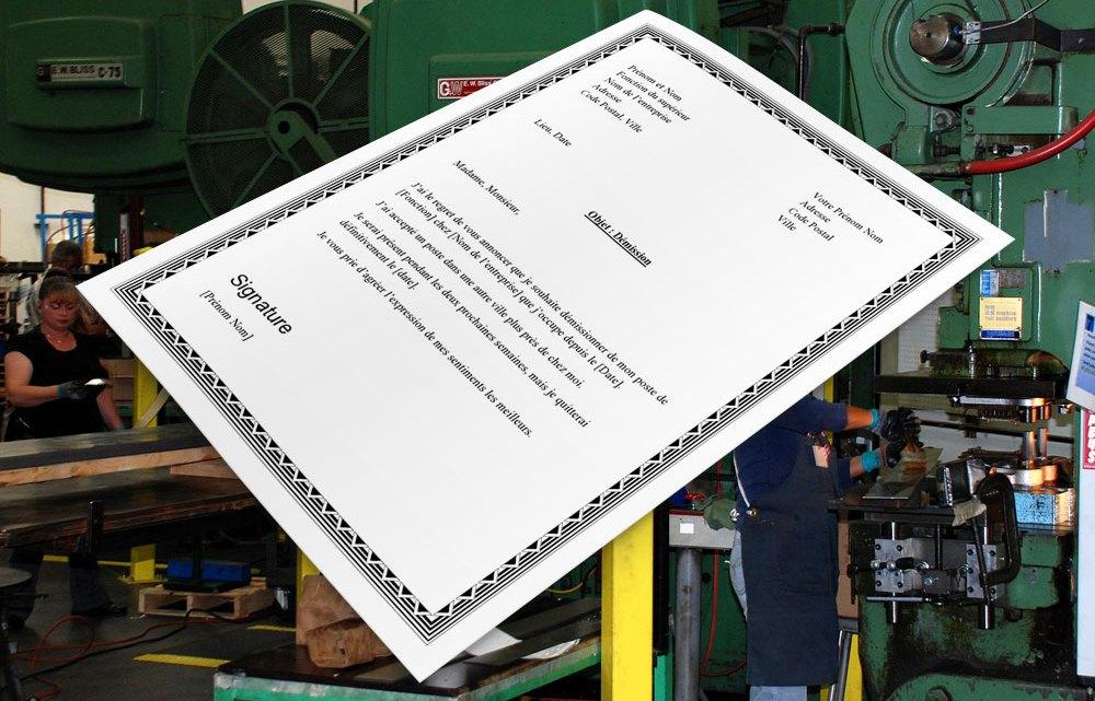 Lettre de démission pour ouvrière ou ouvrier