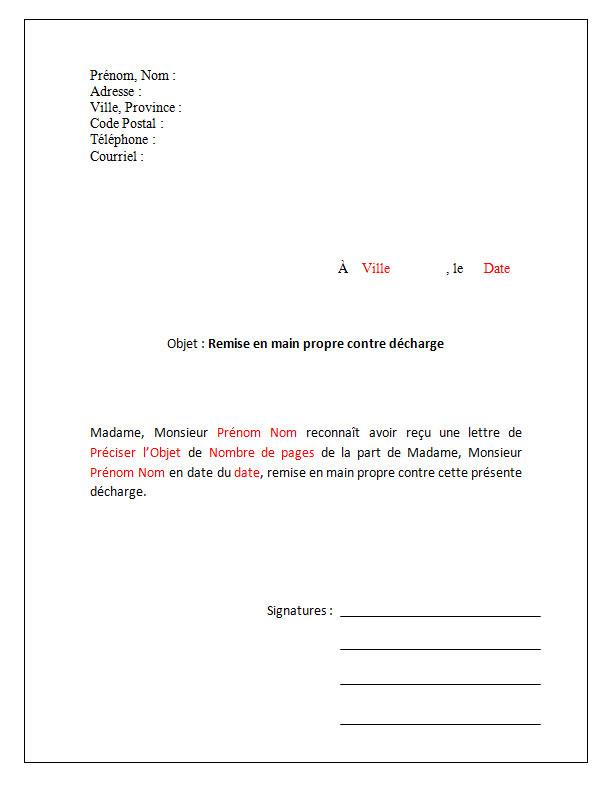 Modèle de lettre Remise en main propre contre décharge ...
