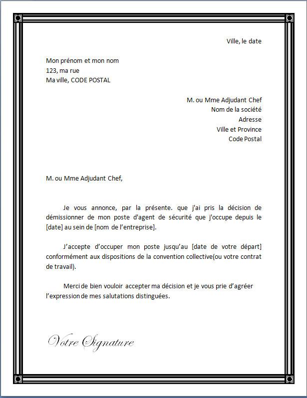 Lettre De Demission Pour Un Agent De Securite Docutexte