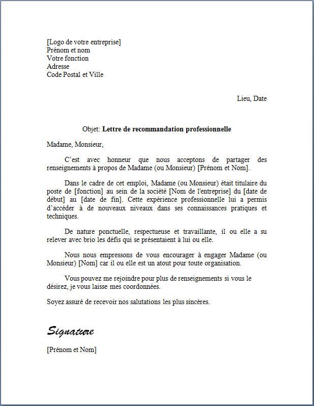 Lettre de Recommandation Professionnelle | Modèle word et texte gratuit | Docutexte