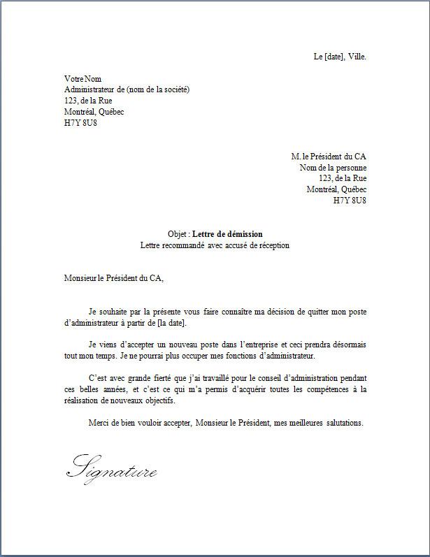 Lettre De Demission D Un Administrateur Docutexte