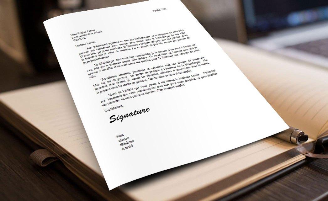 Lettre de motivation | Bibliothécaire