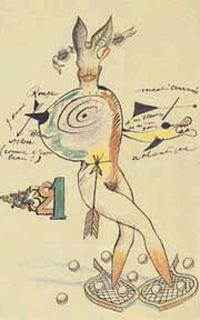 Yves Tanguy, Joan Miró, Max Morise, and Man Ray, Cadavre exquis, 1927. Ink, pencil, and crayon on paper. The Museum of Modern Art, New York.