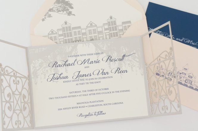 A Deep Taupe Letterpress And Kraft Oak Tree Invitation With Whimsical Script