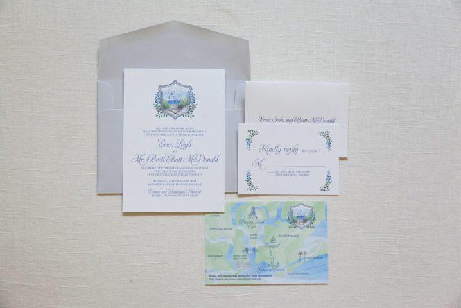 Watercolor Crest Invitation Wedding Invitations