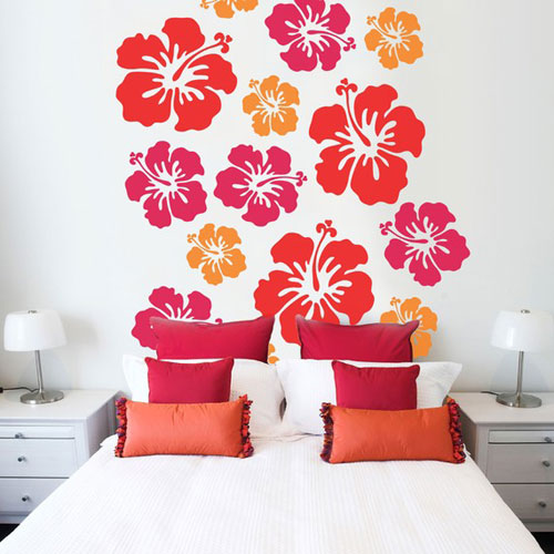 peelable wall paper for rental apartment. Floral pink red and orange peelable wall paper